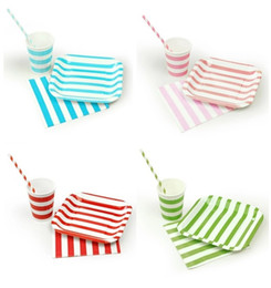 Wholesale Paper Party Set Plate Cup - Wholesale-Stripe Square plate cups napkins paper straws set for Tableware Wedding Family Celebration Evening graduation birthday Party dec