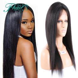 Wholesale Yaki Full Lace Wigs Sale - Cheap Sale Human Hair Wigs Brazilian Kinky Straight Italian Yaki Huaman Hair Full Lace Wigs & Front Lace Wigs For Black Women Free Shipping