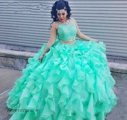 Wholesale Purple Dress Girl Age - 2017 Mint Green Two Pieces Quinceanera Dress Princess Cascading Puffy Sweet 16 Ages Long Girls Prom Party Pageant Gown Plus Size Custom Made