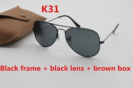 Wholesale Gold Aviators - Classic brand sunglasses designer 58mm 62mm aviator sunglasses men's lady black glass lens gold frame uv400 driving sunglasses