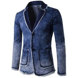 Wholesale Thick Fur Jeans - brand Blazer Men Casual Fashion Cotton Vintage Suit Jacket Male Blue slim Coat Denim Jacket Large Size F040 Jeans Blazers