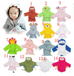 Wholesale Kids Animal Blankets - 0-1T Kids Animal Bathrobe Toddler Girl Boy Baby Cartoon Pattern Towel Hooded Bath Towel Terry Wrap Bath Robes Swaddle Blanket Washcloths XT