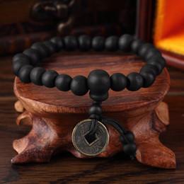 Wholesale Prayer Wood Highest - Wholesale- High Quality Fashion Charm Punk Wood Buddhist Prayer Beads Tibet Bracelet Bangle Wrist Ornament Copper Coin