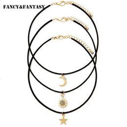 Wholesale Fancy Necklace Sets - Wholesale-Fancy&Fantasy Bohemia 3 Pcs Sets Necklaces Star Moon Sun Shape Pendant Necklace PU Chain Chokers For Women Men Collier Collares