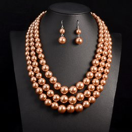Wholesale African Pearl - 2017 New Simulate Pearl Jewelry High Quality Three Layer Beads Statement Necklace & Pendant Bohemia African Beads Jewelry Set