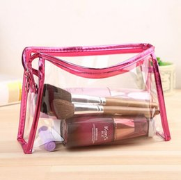 Wholesale Transparent Travel Storage Bag Wholesale - Transparent PVC Makeup Bag High Quality Beautician Waterproof Cosmetic Bag Women's Travel Storage Bags Handbag 10pcs lot