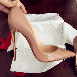 Wholesale Media Photos - Real photo women Nude patent leather point toe thin Red Bottom high heels shoes pumps party dress shoes come with shoes box and dustbag