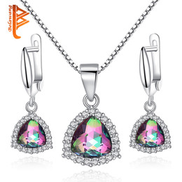 Wholesale Rainbow Silver Crystal Earrings - BELAWANG Huge Rainbow Fire Mystic Purple Crystal 925 Silver Jewelry Sets For Women Earrings Necklace Pendant With 45CM Adjustable Box Chain