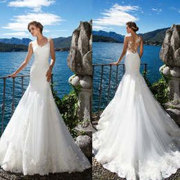 Wholesale Wedding Dresses Factory - New Arrival Vestido de Noiva Sexy Lace Mermaid Wedding Dress Illusion Back Chapel Train Sleeveless Bridal Gown Factory Made to Order Gowns