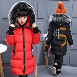 Wholesale Thick Black Girl Clothes - Kids Parkas Hooded Coat children's Winter jackets Warm Down cotton For Girl clothes Children Outerwear Thick Overcoat free shipping