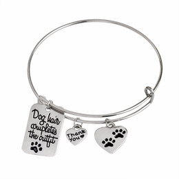 "Wholesale Hair Bracelets - Lovely Paw Prints Bracelet ""Dog Hair Completes the Outfit"" Dog Tag Heart Shape Charm Bangle Pet Lover Jewlry"