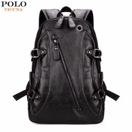 Wholesale Travel Backpack Cooler - Wholesale- VICUNA POLO Fashion Casual Brand Leather Mens Travel Backpacks Cool Multifunctional Laptop Backpacks Mens Backpack Bag Male Bag