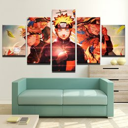 Wholesale Wall Stickers Naruto - New Anime Naruto Character Painting 5 Pieces Canvas Print Modular Pictures For Kids Room Home Wall Sticker No Frame