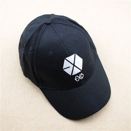 Wholesale exo k - Wholesale- K-pop Hat EXO XOXO Luhan Kris New Fashion Design Classic Black Sport Baseball Cap Hip-hop Cap For Men Women KPOP P1046