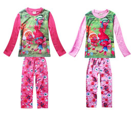 Wholesale Girls Pink Sleepwear - 2017 Children's Spring Autumn Long Sleeve Cartoon Pajamas Trolls Girls Sleepwear Homewear Clothing Sets Two Colors Kids Underwear