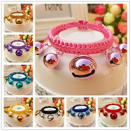 Wholesale Lanyard Necklace Jewelry - 20 Types Small Dog Cat Bell Collars Nylon Lanyard Pet Bell Necklace Teddy Pet Cats & Dogs Jewelry Pet supplies