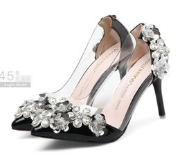 Wholesale Size 34 Silver Heel - New red bottom high heels handmade rhinestone flower pointed toe shoes women pumps Size 34 to 39