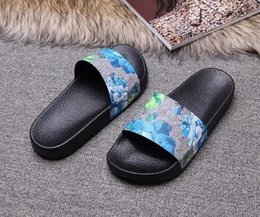 Wholesale Red Top Hotel - Top quality Hot Fashion slide sandals slippers for men and women WITH BOX 2017 Hot Designer flower printed unisex beach flip flops slipper