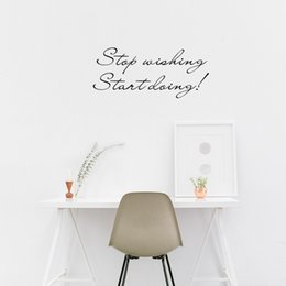 Wholesale Small Wall Decal Quotes - Stop Wishing Start Doing Inspirational Quotes Vinyl Art Wall Stickers for Kids Room Decor Various colors are Available