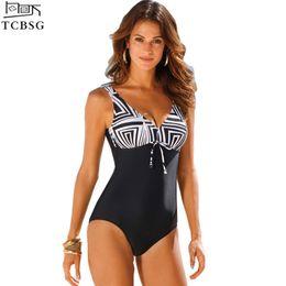00265aee6fde1 2017 New Arrival One Piece Swimsuit Women Vintage Bathing Suits Plus Size  Swimwear Beach Padded Print Polka Black Swim Wear 4XL