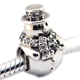 Wholesale Glass Beads Snowman - 2016 Snowman Charm 100% 925 Sterling Silver Bead Fit Pandora Fashion Jewelry DIY Charm Brand Jewelry