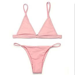 Wholesale Brazilian Micro Bikini Swimwear - bikinis women 2017 Swimsuit Micro Bikini Set Bathing Suits With Halter Strap Swimwear Brazilian bottom Monokini