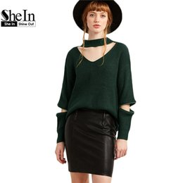 Wholesale Cut Out Knit Sweater - Wholesale-SheIn Womens Pullovers Dark Green Tops For Women V Neck Loose Sweaters For Women Cut Out Zipper Detail Sweater