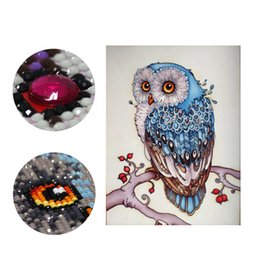 Wholesale Cute Animals Paintings - DIY Diamond Painting Embroidery 5D Animal Cute Owl Pattern Cross Stitch Crystal Square Unfinish Home Bedroom Wall Art Decor Craft Gift