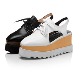 Wholesale Black Platform Slingback - Plus Size 42 Summer Women Casual Shoes Ladies Genuine Leather Slingbacks Shoe Female Square Toe Beach Platform Creepers