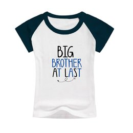 Wholesale Shorts For Toddler Boys - boys summer outfits tees big brother at last kid t-shirts raglan cotton clothes toddler classic pattern tees tops bulk selling gift for boys