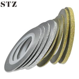 Wholesale Gold Silver Striping Tape - STZ 1 Rolls Nail Art Glitter Striping Tape Line Laser Shinning Gold Silver 1 2 3mm New Nail Transfer Foils Sticker Tools NC275