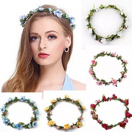 Wholesale Hair Headpiece Wholesale - Bohemian Terylene Flower Headband Garland Crown Festival Wedding Bridesmaid Hair Wreath BOHO Floral Headwear Headpiece 2018