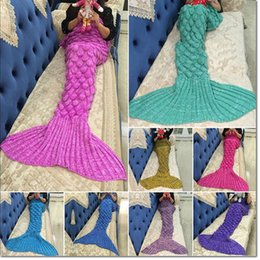 Wholesale Costume Bags - 9 Colors Adult and Kids Crochet Mermaid Tail Blankets Sleeping Bags Costume Cocoon Mattress Knit Sofa Blankets Handmade Living Room