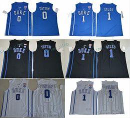 Wholesale University Blue Shirt - 2017 Duke Blue Devils College Basketball Jerseys 0 Jayson Tatum 1 Harry Giles New Shirts Black Blue Stitched University Basketball Jersey
