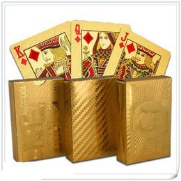 Wholesale Graded Sports Cards - 24K Gold Foil Plated Poker Card Playing Card Game High-grade Sports Leisure Game Poker Card Gift 2017
