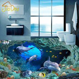 2020 pinturas de delfines Al por mayor 3D personalizado piso del papel pintado 3D Dolphin Pinturas de la sala de baño de suelos autoadhesivos Mural Decoración Papel de pared a prueba de agua pinturas de delfines baratos