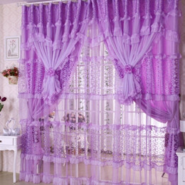 Wholesale Window Double Curtains - Handmade Lace Curtain for Girls Room Pink purple Lace Sheer Curtains for Children Bedroom 3 Layers