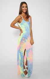Wholesale Rainbow Dress Maxi - Women Boho Dress Summer Style Rainbow Print Casual Long Dresses Sleeveless Plus Size Street Gowns Party Maxi Beach Dresses
