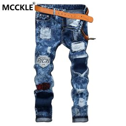 Wholesale Men Jean Trousers - Wholesale-Mens Ripped Patch Jean Joggers Slim Fit Straight Destroyed Denim Trousers Male Washed Blue Distressed Jeans Pants Brand Designer