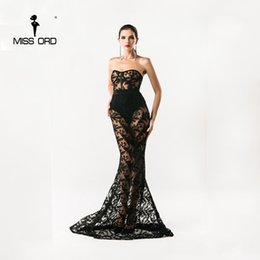 Wholesale Club Bra Dresses - Wholesale- Free shipping Missord 2017 Sexy Bra sexy lace stitching maxi party dress floor-length dress FT4392