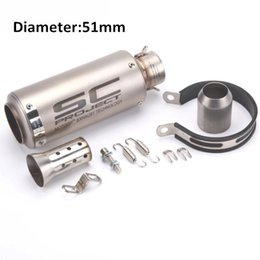 Wholesale Exhaust Fiber Carbon - Motorcycle Exhaust Pipe Muffler Inlet 51mm 61mm SC GP Exhaust Mufflers Carbon Fiber Exhaust Pipe With Sticker Laser Logo