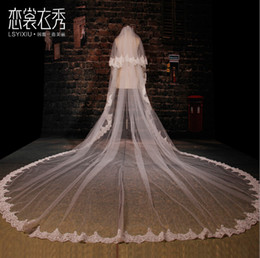 tail veil Coupons - 2017 3 Meters Long Bridal wedding veil luxury lace lace ultra cathedral tail new Korean multi - layer wedding bridal veils accessories gv13