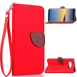 Billetera de galaxy note online-Para Samsung Galaxy Note 8 casos Kickstand PU cubierta de cuero con tarjeta monedero bolsillos hoja imán hebilla de regalo correa de mano