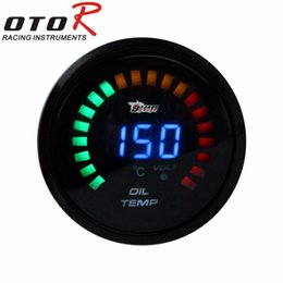 Wholesale Digital Led Fuel Gauge - Wholesale- Black 2 inch 52mm Digital LED Oil Temp Gauge Auto Car Instruments oil Temperature gauge car meter AUTO GAUGE YC100096