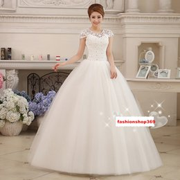 Wholesale Free Portrait Pictures - Pretty Sexy White Portrait A-Line Wedding Dresses Lace-Up Floor-length Women Princess Lace Crystal Dresses Slim Free Shipping