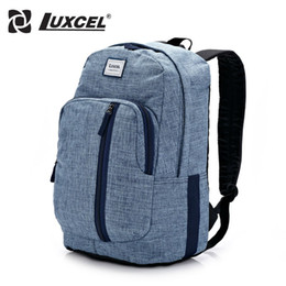 Wholesale Jean Bag Men - Wholesale- Luxcel School Youth Trendy schoolbag Jean material 2016 new casual backpack for men rucksack bag