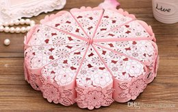 Wholesale Triangle Sweet Box - 100Pcs Lot HOLLOW OUT Flowers SWEET BOX Favor Holders Wedding And Party Gift Box Cake candy Boxes 2017 New Style