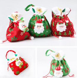 Wholesale Holiday Gift Wrapping - Christmas Personalized Santa Sack Drawstring Sweet Candy Treats Holder Bags Holiday Gift Wrap Stocking handbag party xmas decoration