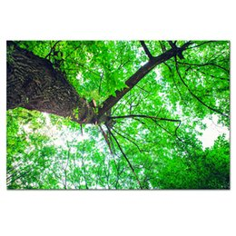 Wholesale green trees wall canvas - 1 Piece HD Forest Green Tree Canvas Painting Nature Landscape Modern Giclee Wall Picture SJMT1886