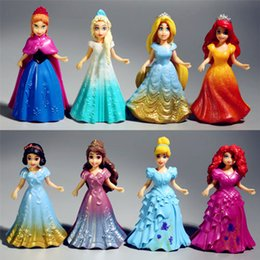 Wholesale Princess Figurines - 8pcs set Magic Clip Dolls Dress Magiclip Princess Figurines Statue Snow White Cinderella Elsa Anna PVC Action Figures Kids Toys